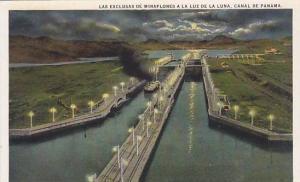Miraflores locks by moonlight, Panama Canal, Panama,00-10s