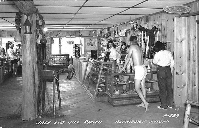 Rothbury MI Jack & Jill Ranch Interior Saddle in 1952 RPPC Postcard Rack