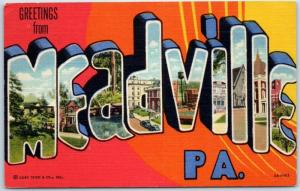 MEADVILLE Pennsylvania Large Letter Postcard Colorful Curteich Linen 1959 Cancel