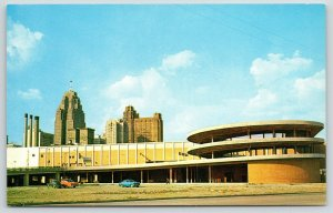 Detroit~Cobo Hall~Skyline~Beautiful Parking Ramp~Green 1950s Volkswagen Beetle