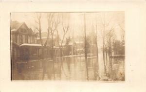 F18/ Bridgeport Ohio RPPC Postcard c1920s Flood Disaster Homes Winter 2
