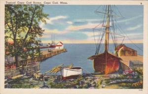 Massachusetts Cape Cod Typical Waterfront Scene 1956