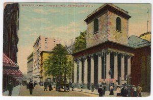 Boston, Mass, King's Chapel And Tremont Street