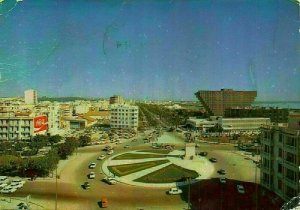 Tunisia Place d'Afrique Square Vintage Cars Panorama Postcard