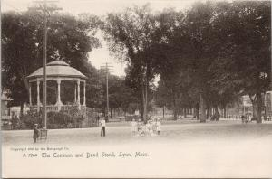 The Common & Band Stand Lynn MA Mass Children UNUSED Rotograph Postcard D93