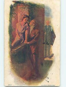 Pre-Linen signed YVES JAMES HEWEY - FATHER CATCHES DAUGHTER'S BOYFRIEND HL4439