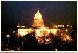 Wisconsin Madison State Capitol Building At Night