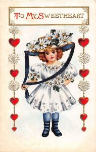 B32/ Valentine's Day Love Holiday Postcard c1910 Girl Large Hat Cute 10