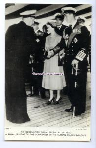 na6144 - Queen Elizabeth & Duke on Royal Navy Warship - HMS Surprise - postcard