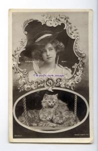 b5886 - Stage Actress - Gabrielle Ray / Two Kittens, No.R.2878 E- postcard