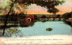 Massachusetts Waltham Charles River Riverview Boat House and Prospect Street ...