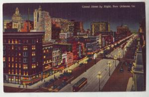 P780 birds eye view old linen card canal st trolly cars etc night new orleans la