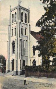 Catholic Church GRASS VALLEY, CA Nevada Co. 1909 Hand-Colored Vintage Postcard
