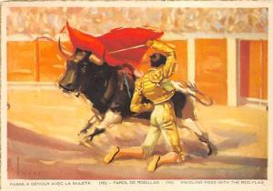 Passe a Genoux Avec La Muleta Tarjeta Postal Bullfighting Kneeling pass with ...