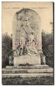 Rouen Old Postcard Monument Charles Besselièvre