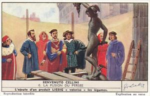 Liebig Trade Card s1392 Benvenuto Cellini No 6 La Fusion Du Persee