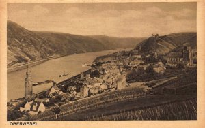 Oberwesel Village Tower River Boats Panorama Postcard
