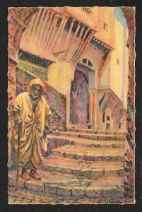 Old Man using Cane on Steps Algiers Algeria Unused c1930s