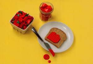Breakfast Strawberries & Jam Slice Of Bread Toy Lego Model Display Postcard
