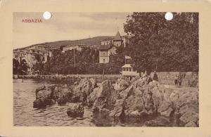 Croatia Opatija Abbazia early holed/pierced postcard 1938