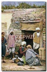 Postcard Old Barber Hairdresser Ambulant