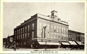 Vtg Carte Postale Kendallville Indiana Maçonnique Hall Streetview