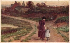 ?Vintage Postcard 1912 Mother and Daughter Walking Through Field Nature Artwork