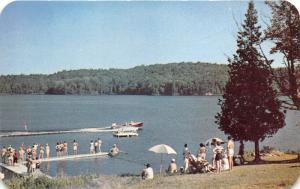 Long Lake New York~Stonegate Lodge Resort~People on Dock & Water Skiing~1950s