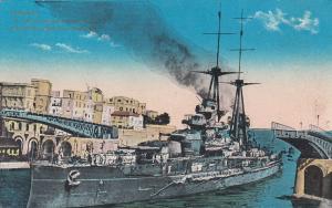 TARANTO , Italy , PU-1919; R. Navy Warship Leonardo da Tinol crossing canal