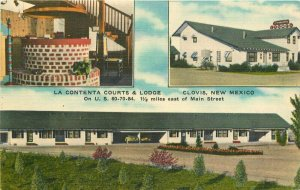 Clovis New Mexico La Contenta Lodge roadside Thomas linen Postcard 20-4020