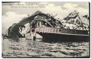 Old Postcard Boat Catastrophe of Freedom Removal of dead one hour after the &...
