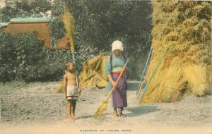 Cleaning House road C-1910 Rural life Japan Postcard hand colored  7776
