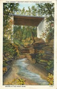 Waveland Indiana~The Shades~Bridge Over the Devil's Punch Bowl~1943 Postcard