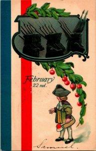 Vtg Postale C 1908 - Février 22nd Washington's Anniversaire Estampé L & E 2228