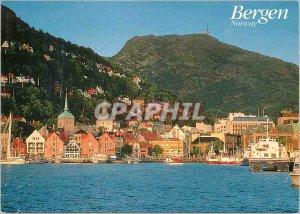 Bergen Norway Modern Postcard View of the harbor and Mount Ulrken