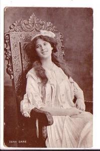 Zena Dare, Actress, Vintage Postcard Used 1909 Nova Scotia