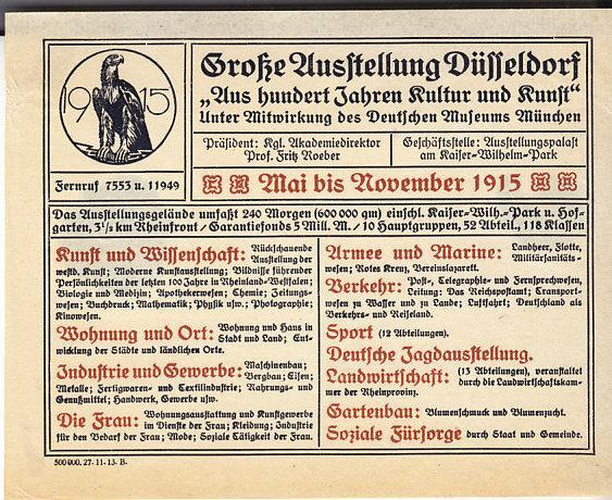Germany - Handbill Dusseldorf Expo Nov. 1915
