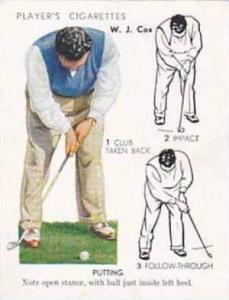 Player Vintage Cigarette Card Golf 1939 No 10 Putting W J Cox