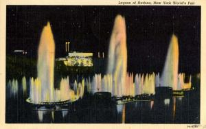 NY - New York World's Fair, 1939. Lagoon of Nations Fountains at Night