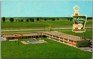 Effingham, Illinois Postcard HOLIDAY INN Motel Aerial View Curteich Chrome 1960s