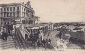 Algeria Alger L'Escalaier de la Pecherie et le Palais Consulaire