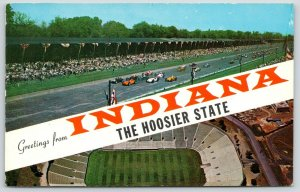 Indianapolis 500 Speedway~South Bend Notre Dame Stadium~Indiana Banner~1950s PC