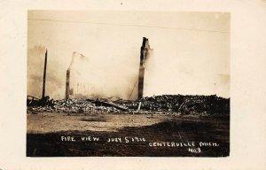 LP05 Centreville Michigan Postcard RPPC Centerville 1910 Fire