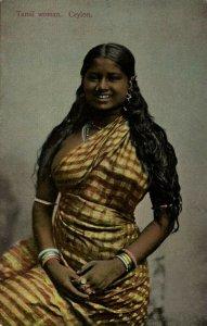 ceylon, Beautiful Native Nude Tamil Woman with Long Hair (1910s) Postcard