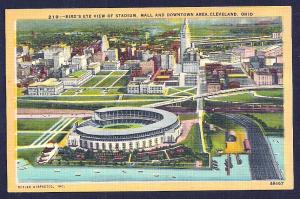 Old Municipal Stadium birdseye Cleveland OH unused c1940's