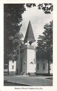 Hughesville Pennsylvania~Baptist Church~1940s B&W Postcard