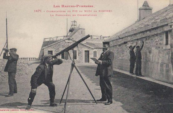 Les Hautes Pyranees Antique Observatory Tower Telescope France Postcard
