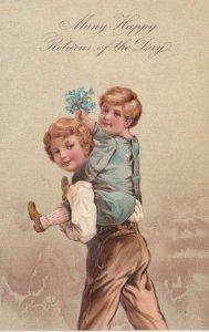Many Happy Returns, 1909; Boy carrying boy piggy-back flower bouquet, PFB 7095
