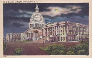 U S Capitol At Night Washington D C 1952