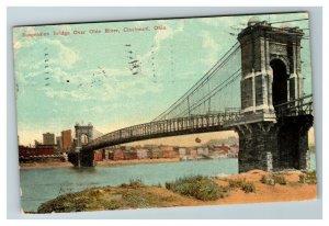 Suspension Bridge Over Ohio River, Cincinnati OH c1911 Postcard J15